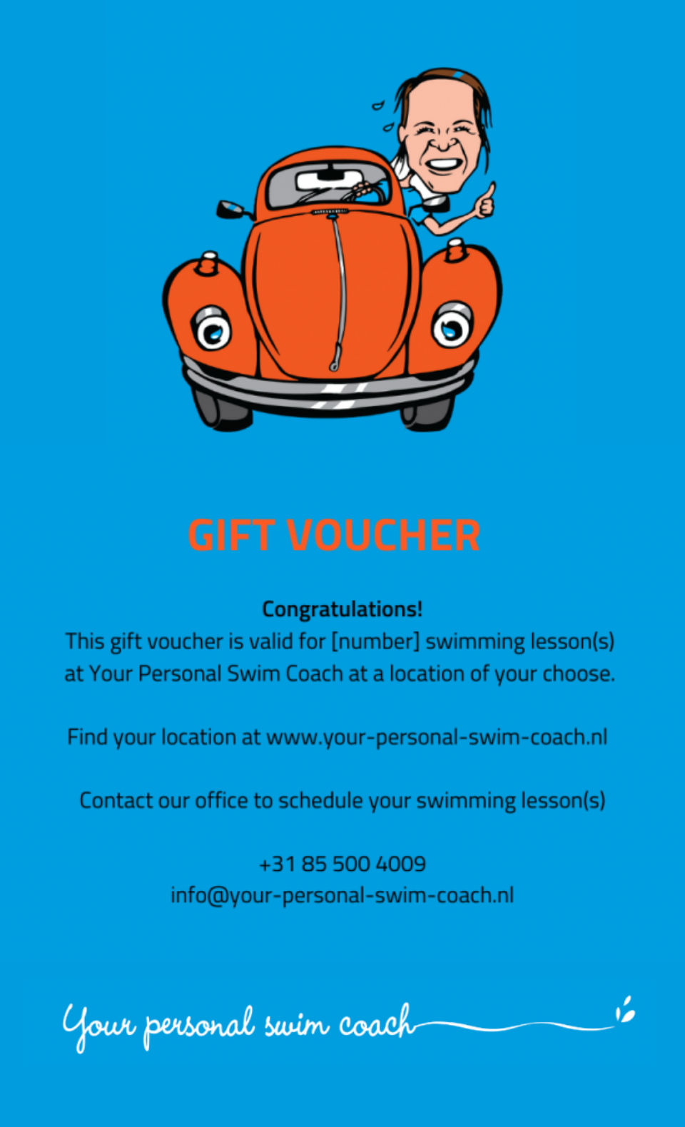 Adult swimming lessons gift voucher